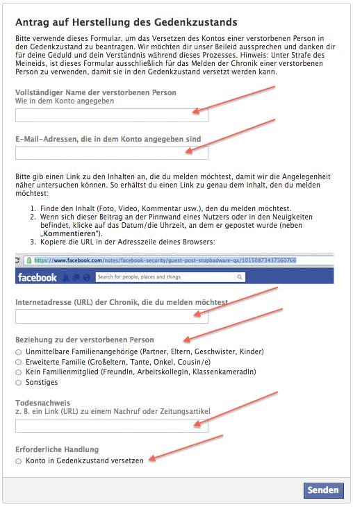 Facebook Gedenkmodus für verstorbene Personen beantragen